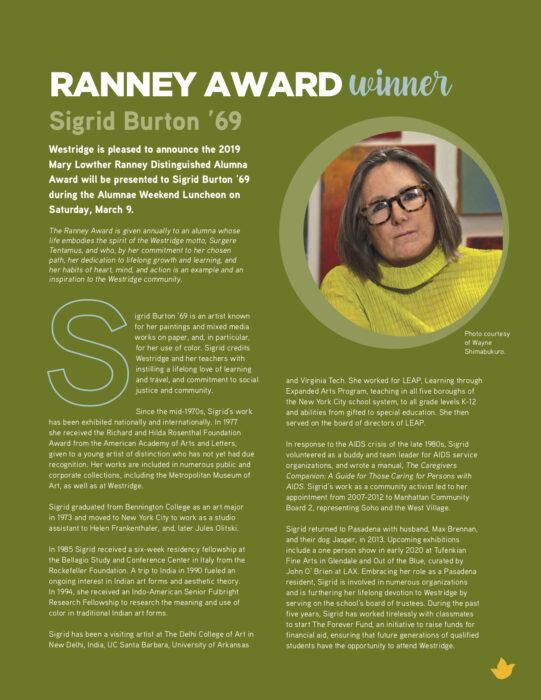 Sigrid Burton 2019 Ranney Award Recipient