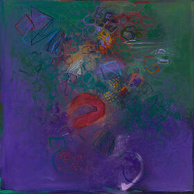 """""""Sidewinder"""", 2020, 20 x 20 inches, oil on canvas"""