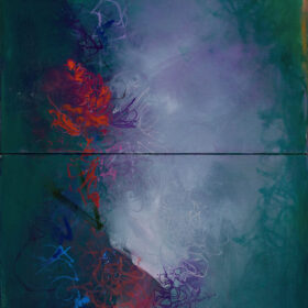 """""""What There Is (#120-MD-4)"""", 48 x 18 inches, oil on canvas 2020 (diptych)"""