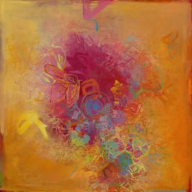 """""""The Thoughts of Flaming June"""", 34 x 34 inches, oil on linen, 2021"""