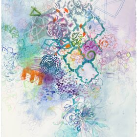 """""""Allegro #1"""", 29.75 x 22.25 inches, mixed media on paper, 2021"""
